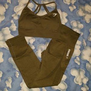 Gymshark leggings set olive